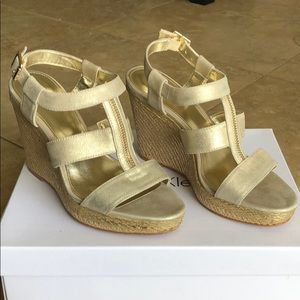 Calvin Klein Women's Gold Strappy Wedges